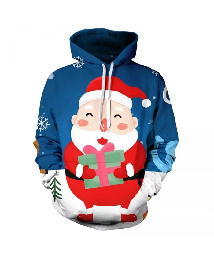 Men's And Women's Children's Long-Sleeved Autumn And Winter Hoodies 3d Printing Santa Sweatshirt Fashion Christmas Cartoon Caot