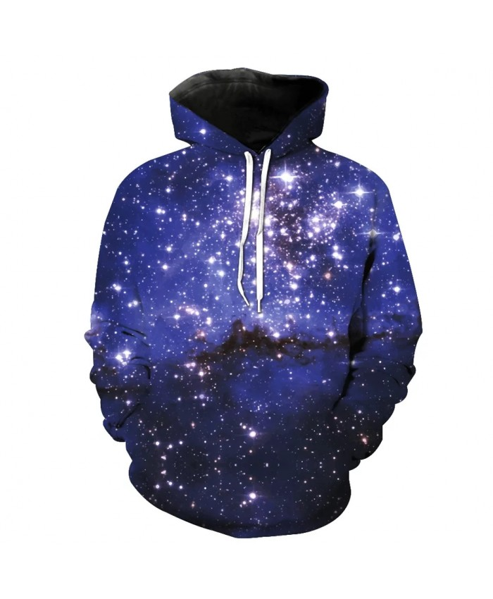 Purple shine galaxy black mountain print cool 3D Hooded Sweatshirt