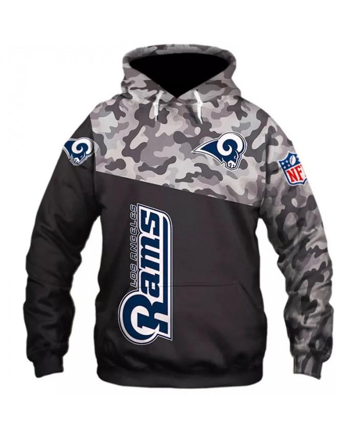 Los Angeles fashion cool Football 3d hoodies sportswear Camouflage black stitching geometric sheep print Rams sweatshirt
