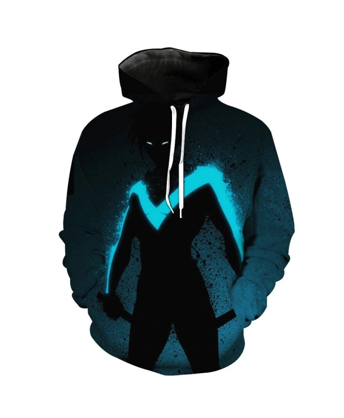 Men's Fashion 3D Hoodie Fun graffiti blue fluorescent print sweatshirt