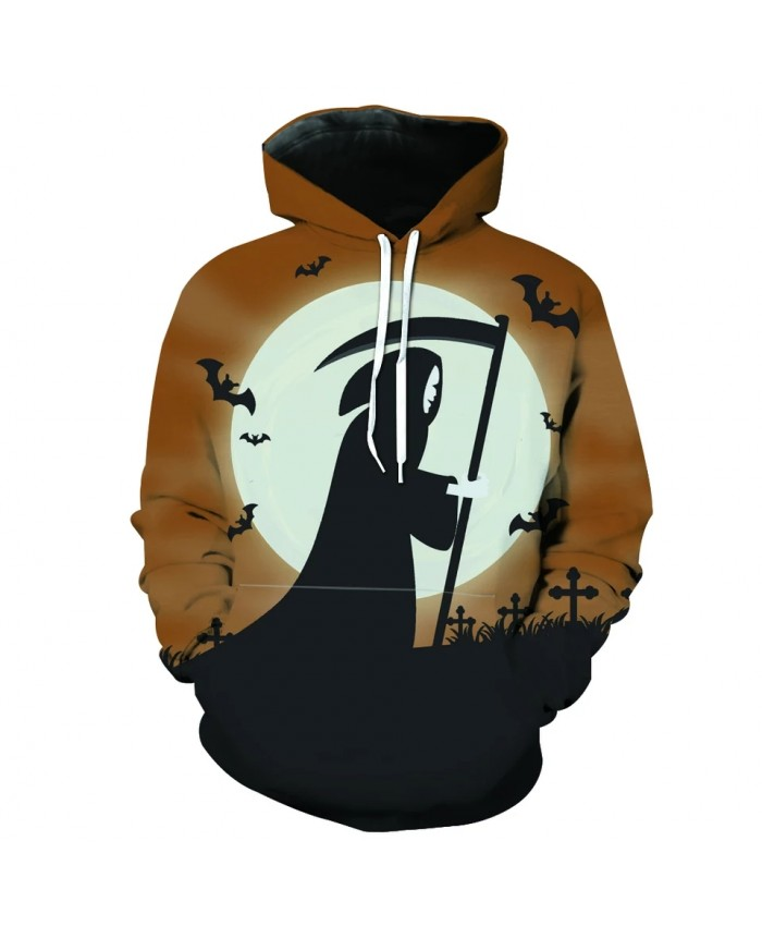Men's Fashion 3D Hoodie Yellow sky white moon bat grim reaper print sweatshirts