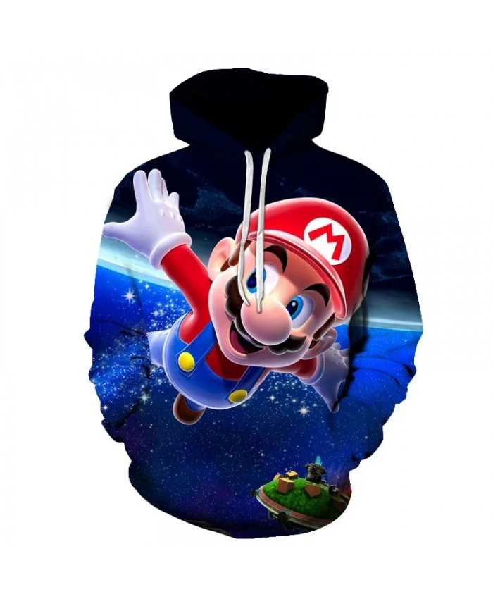 Classic cartoon Mario travels in space 3D printing jacket men and women casual street clothing hoodies men cute clothes Harajuku