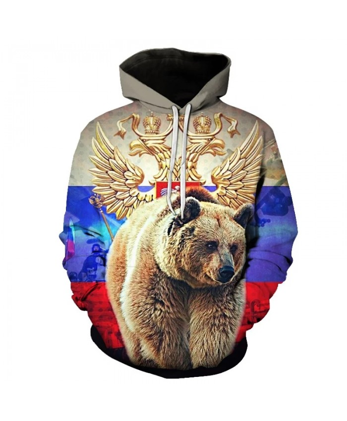 2021 Autumn And Winter Retro Bear 3d Printing Men's Hoodie Russian Flag Sweatshirt Children Long-Sleeved Pullover Casual Coat