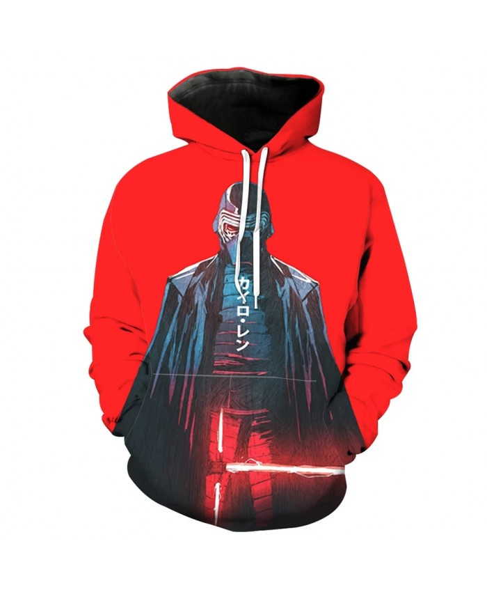 Red Casual Hoodie Robot Print Fun 3D Pullover