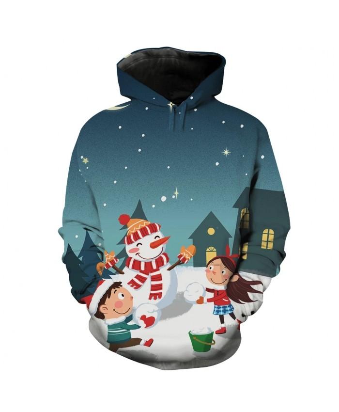 Green starry sky cute little friends print fun 3D sweatshirt