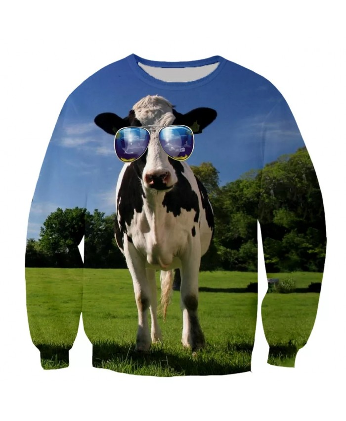 Cow funny Funny New Fashion Long Sleeves 3D Print Hoodies Sweatshirts Jacket Men women G