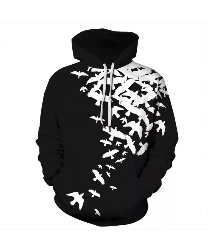 Unisex Hoodie 3D Print Bird Hooded Sweatshirts Fashion Casual Hoodies Men Women Clothing