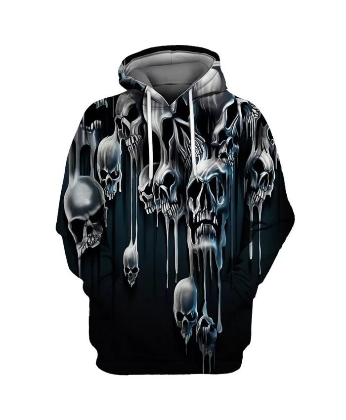 Black cave horror skull print fun 3D men's fashion hoodies