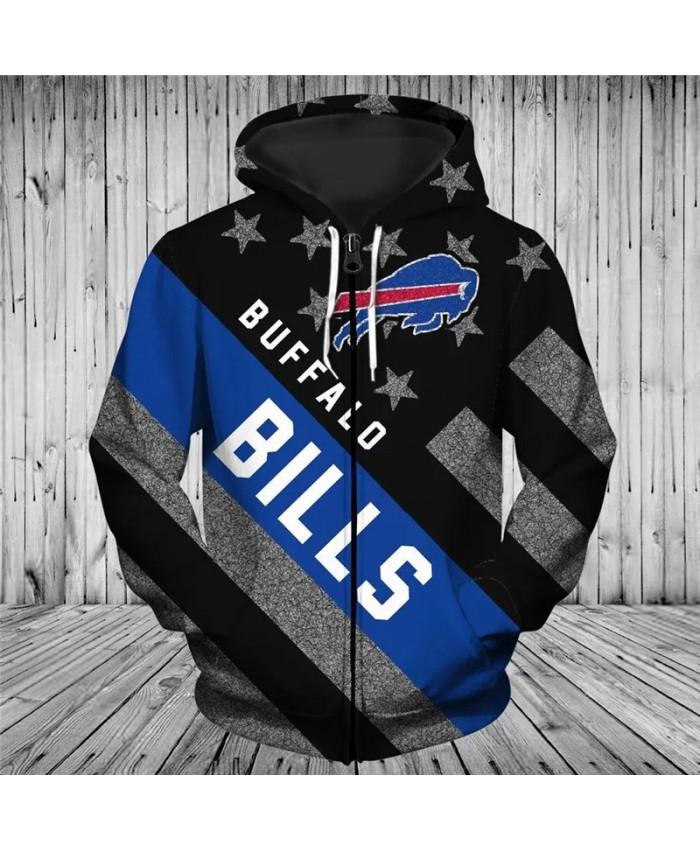 Buffalo Fashionable American Football Bills Zipper hoodies Black flag blue bull print fashion sweatshirts 2