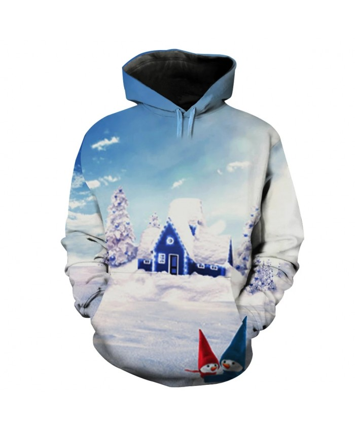 Blue sky and white clouds fairy tale village snowman print fashion hooded sweatshirt