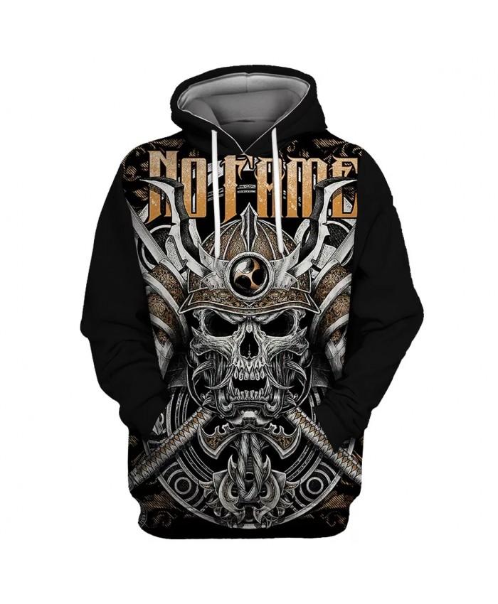 Metal Double Swords Skull Shield Letter Print Black Casual 3D Hooded Sweatshirts