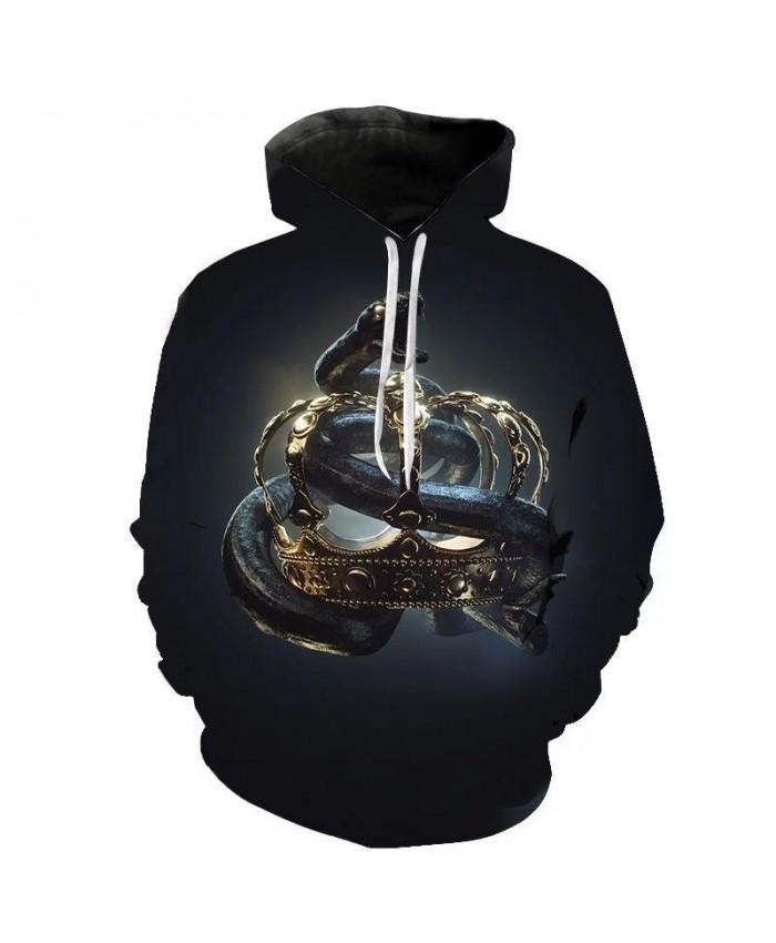 Horror Python Hoodies for Men Winter Hip Hop Sweatshirt 3D Printed Cute Animal Hoody Pullovers Harajuku Hoodie Mens Punk Clothes