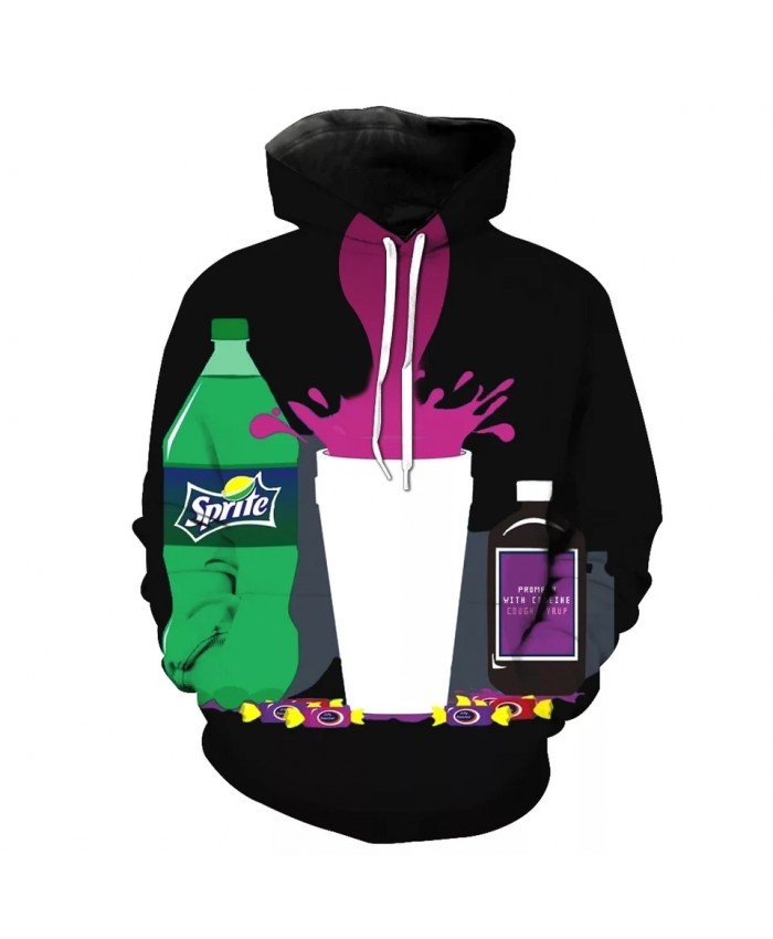 Purple drink print Cool 3D Black Casual Hooded Sweatshirts