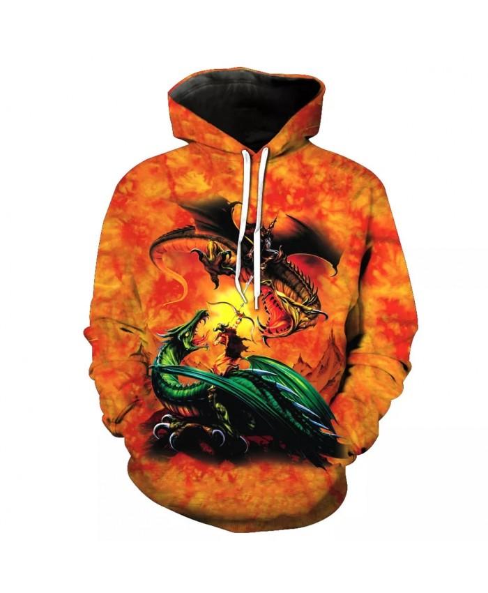 Lava World 2 Bone Dragon Print Fashion 3D Hooded Sweatshirt