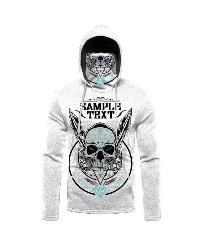 Metal wings white skull print fashion 3D mask sweatshirt cool sportswear