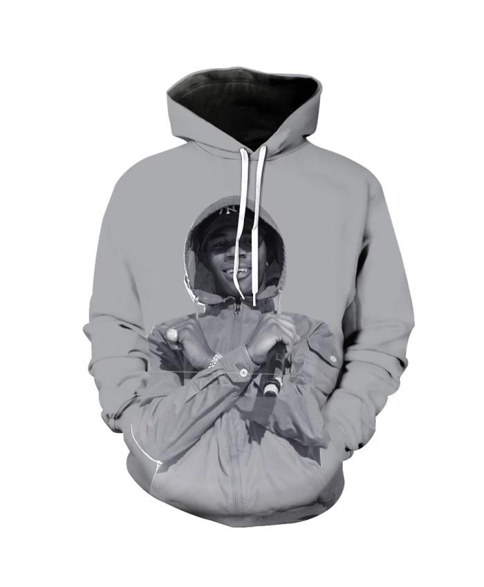 Men's Fashion 3D Hoodie Rapper print grey Sweatshirt