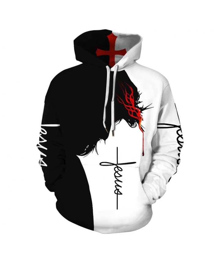 2021 New Fashion Sweatshirt Men Women 3d Hoodie Print Cross Blood Slim Unisex Slim Stylish Hooded mens Hoodies