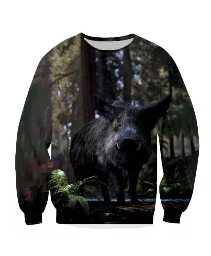 Wild boar Fashion Playerun Funny New Fashion Long Sleeves 3D Print Hoodies Sweatshirt Jacket Men women F