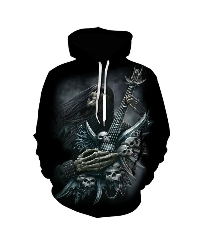 Vintage Gothic 3d Hoodie Guitar Skull Printed Sweatshirt Retro Men Women Hoodies High Quality Sportswear Harajuku Cool Jacket