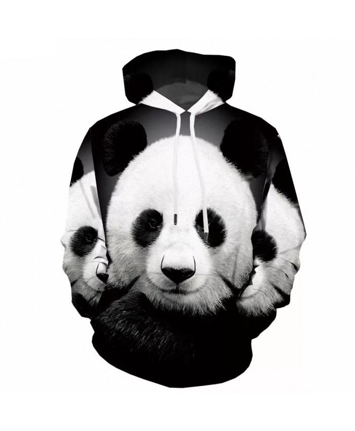 3D Panda Sweatshirts men Animal Hoody Anime Funny Sweatshirt Printed Black And White Hoodie Print 3d Printed