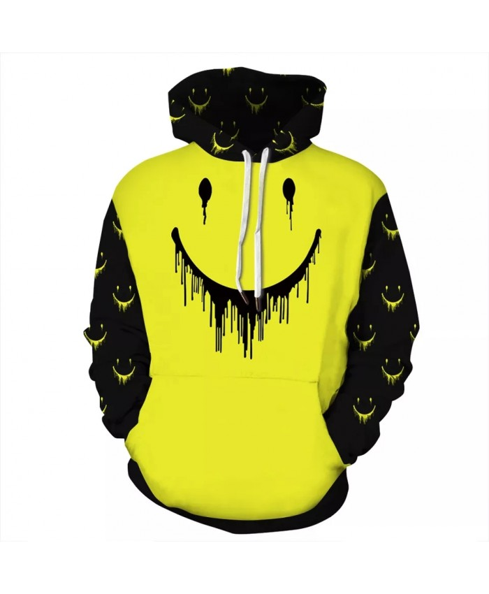 2021 New Design 3D Fashion Men Women Hoodies Print Yellow Smile Hoodie Sweatshirts Top Plus Size -S-3XL