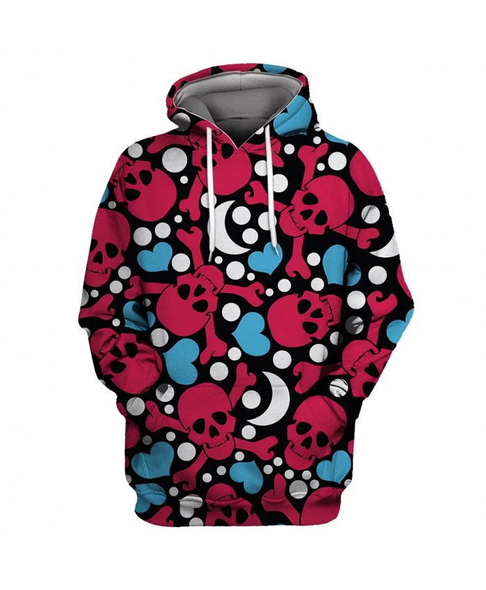 White Moon Blue Heart Red Skull Print Cool Fashion 3D Hooded Sweatshirts