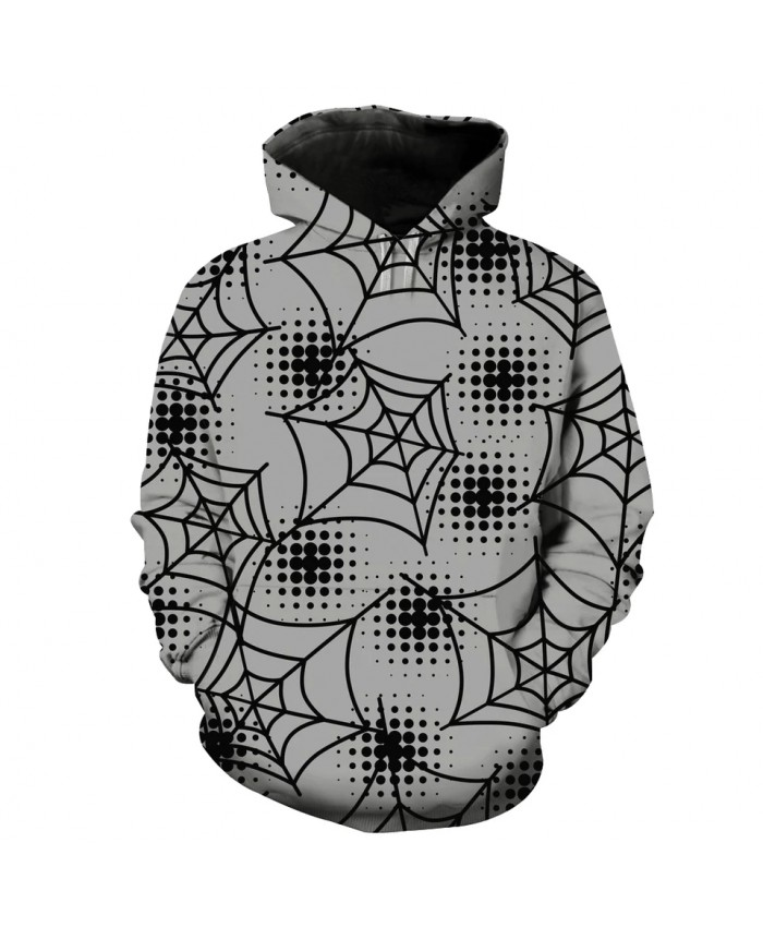 Men's Fashion 3D Hoodie Spotted spider web print gray sweatshirts