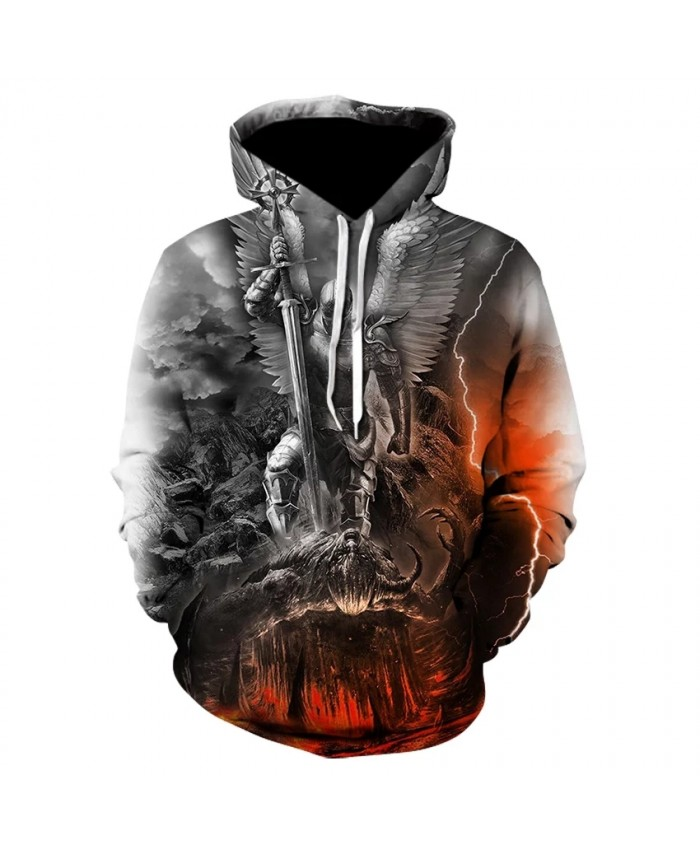 2021 Fall/winter 3d Printing Hoodie Skull Punk Clothing Sweatshirt Heavy Metal Locomotive Fashion Cool Hip-hop Coat