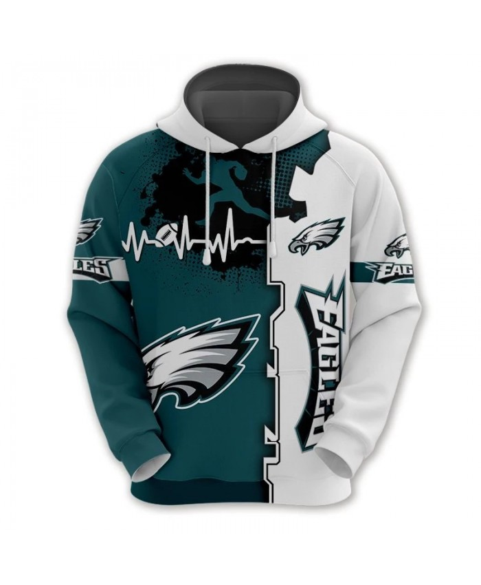 Philadelphia fashion cool Football 3d hoodies sportswear Green white stitching curve graffiti animal print Eagles sweatshirt