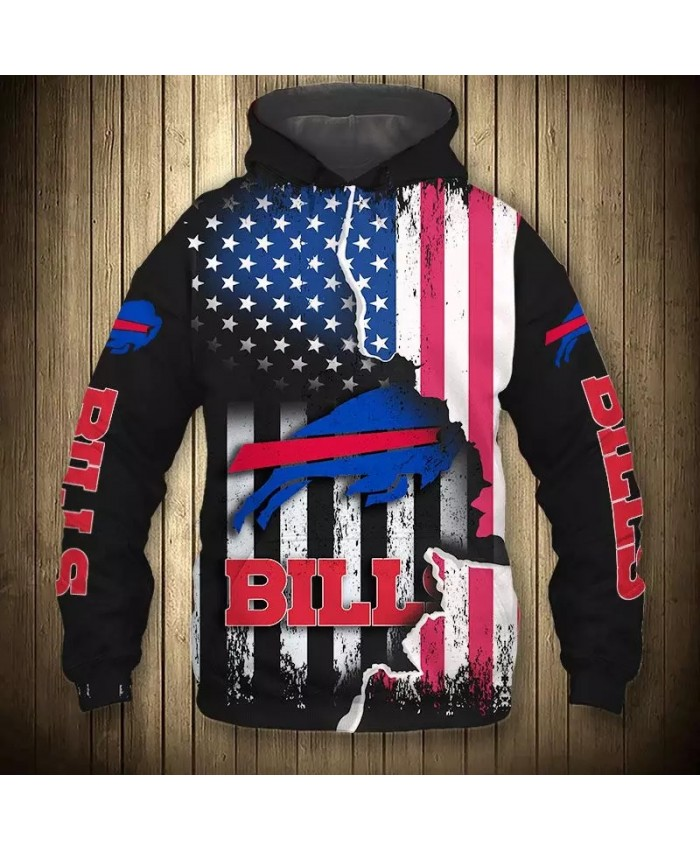Buffalo fashion cool Football 3d hoodies sportswear Black american flag blue bull print Bills sweatshirt