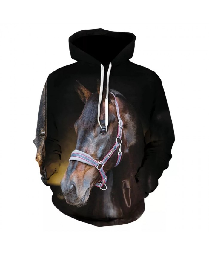 Cool men's animal casual long sleeve hooded sweatshirt 2021 stylish personality horse head animal print hoodie