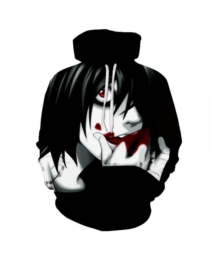 3D Print Men Women Casual Streetwear Death Note Hoodie Hip Hop Long sleeve Leisure Pullover Tops Anime Sweatshirt