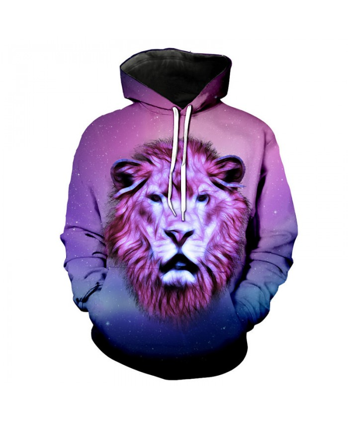 Abstract Lines Purple Lion Print Neutral Hooded Sweatshirt Casual Hoodie Autumn Tracksuit Pullover Hooded Sweatshirt