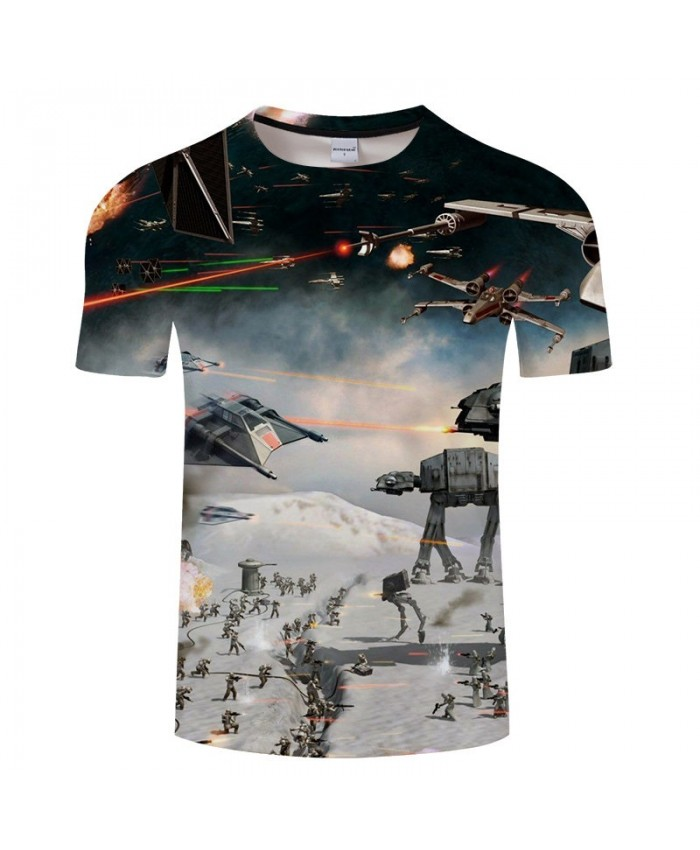 Aircraft Battle Star Wars 3D Print T Shirt Men tshirt Summer Casual tshirt Short Sleeve O-neck Tops&Tee Drop Ship