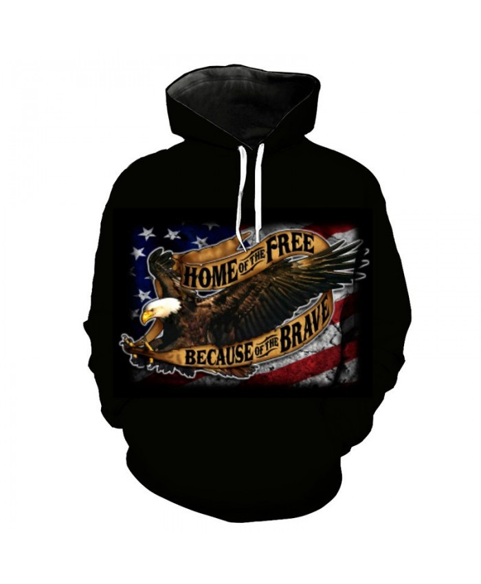 American Flag Eagle Print Black Hoodie Sweatshirt Men Women Pullover Sportswear Casual Hoodie Autumn Tracksuit Pullover Hooded Sweatshirt