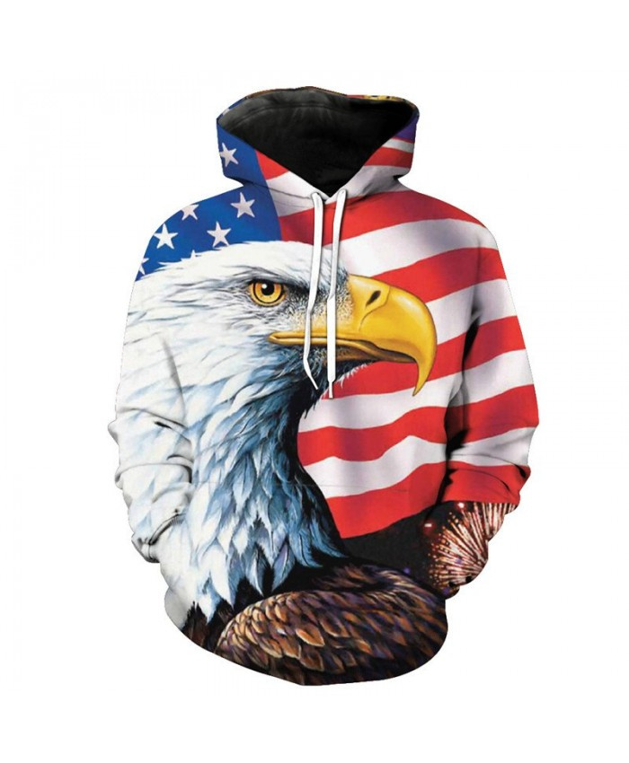 American Flag Eagle Printed Men Women Fashion Hooded Sweatshirt Casual Hoodies Casual Hoodie Autumn Tracksuit Pullover Hooded Sweatshirt