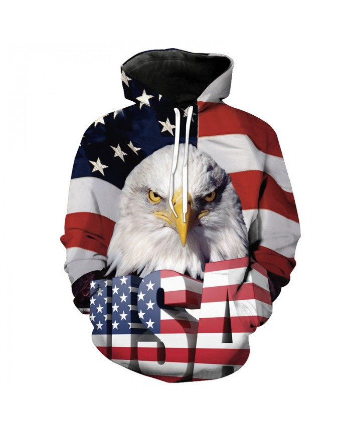 American Flag Eagle USA Letter Print Fashion Hooded Sweatshirt Neutral Pullover Casual Hoodie Autumn Tracksuit Pullover Hooded Sweatshirt