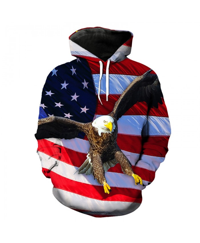 American Flag Flying Eagle Print Fashion Hooded Pullover Sweatshirt Men's Sportswear Casual Hoodie Autumn Tracksuit Pullover Hooded Sweatshirt