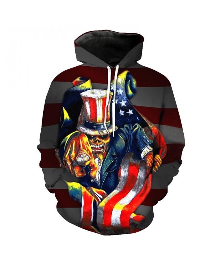 American Flag Print Fashion Hoodie Skull Magician Sweatshirt Tracksuit Pullover Hooded Sweatshirt