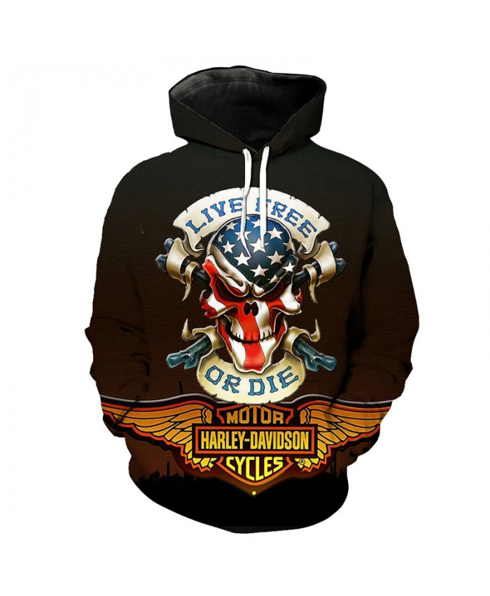 American Flag Skull Print Street Fashion Hooded Sweatshirt Men Women Tracksuit Pullover Hooded Sweatshirt