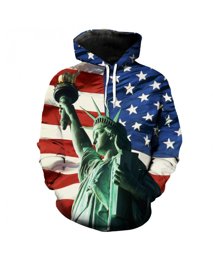 American Flag Statue of Liberty Print Hooded Sweatshirt Men Women Pullover  Casual Hoodie Autumn Tracksuit Pullover Hooded Sweatshirt