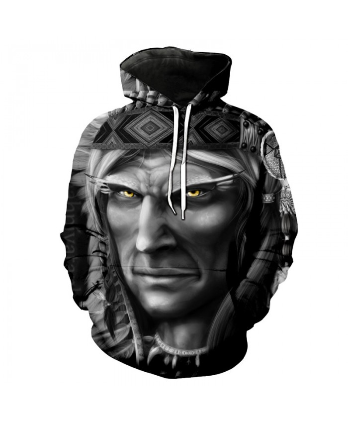 American Indian Face Portrait Print Casual Hoodie Sweatshirt