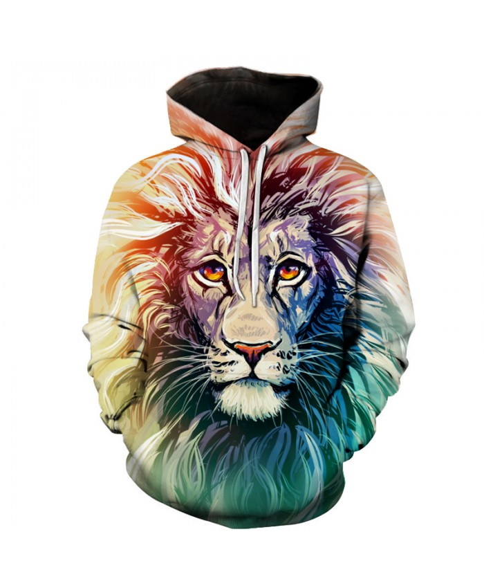 Ancient Lion Printed Men Hooded Sweatshirts Women Hoodies Animal 3D Tracksuit Casual Autumn Male Pullover Streetwear
