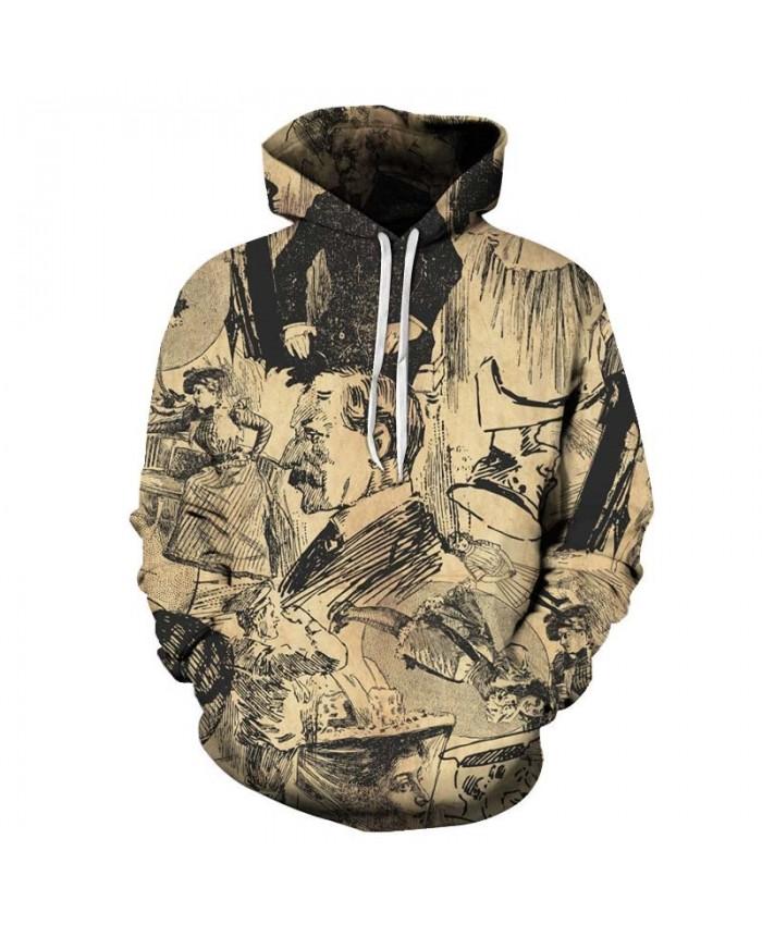 Ancient Painting Characters Men hoodies Pullover Sportsuit Pullover Sweatshirt Casual Hoodie Long Sleeve Tops Men