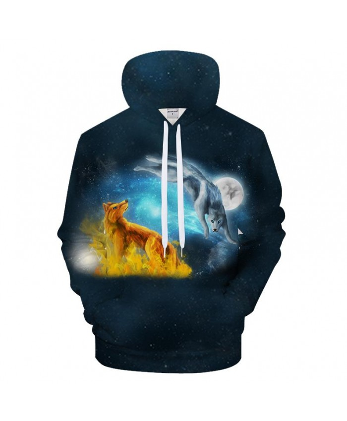 Animal Hoodies Golden Wolf Hoody 3D Men Hoodie Streatwear Pullover Galaxy Tracksuit Casual Sweatshirt Moon Drop Ship
