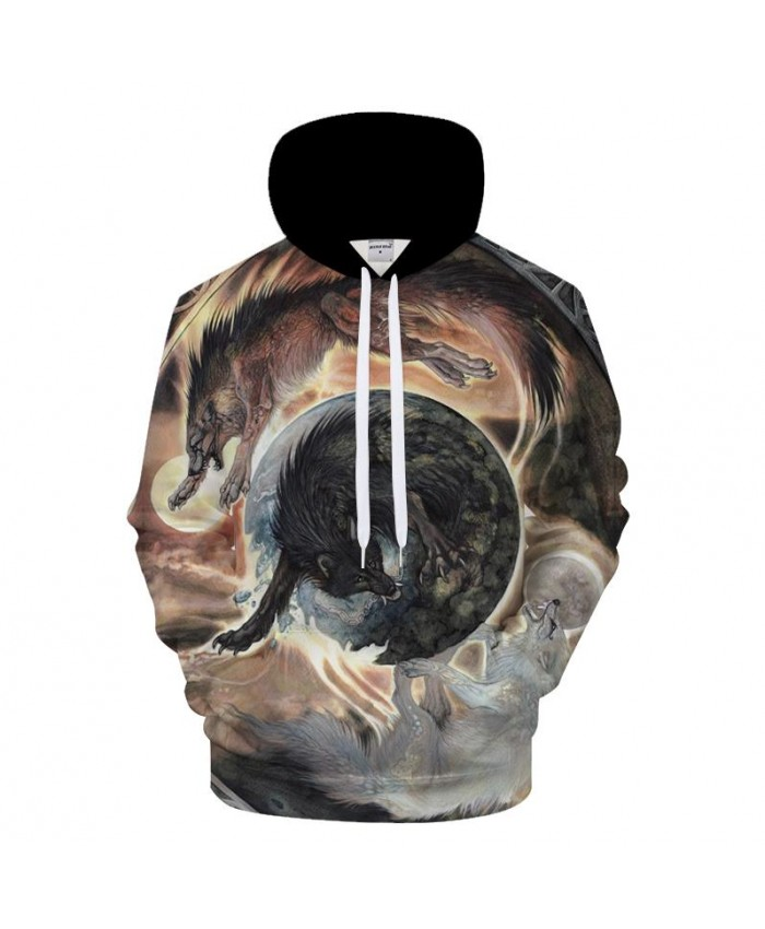 Animal Hoodies Wolf Sweatshirt Men Funny Hoody 3D Tracksuit Streatwear Coat 6XL Pullover Hooded Hoodie Print DropShip