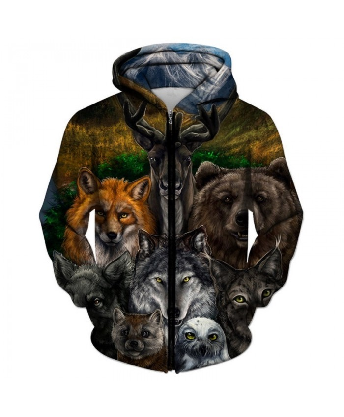 Animal Printed Zipper Hoodies Brand 3d Hoodies Men Unisex Sweatshirts Hot Sale 6XL Autumn Pullover Casual Tracksuits
