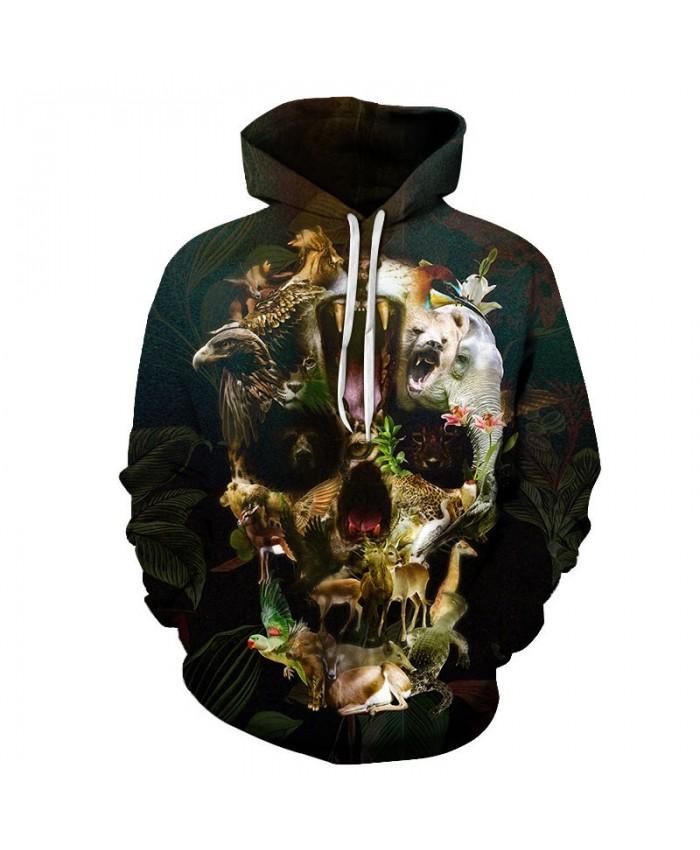 Animal Skull By ALI Artist Unisex Hoodie 3D Print Sweatshirts Pullover Harajuku Mens Hoody Casual Streetwear Autumn Male Coat