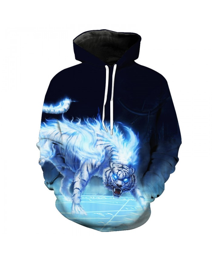 Anime Blue Flame White Tiger Fashion Hooded Sweatshirt Casual Hoodie Autumn Tracksuit Pullover Hooded Sweatshirt