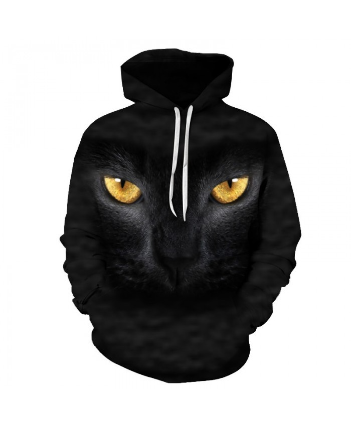 Anime Cat Sweatshirts Men Hoodies Black Hoody 3d Printing Pullover Streetwear Tracksuit Anime Coat Animal Drop Ship